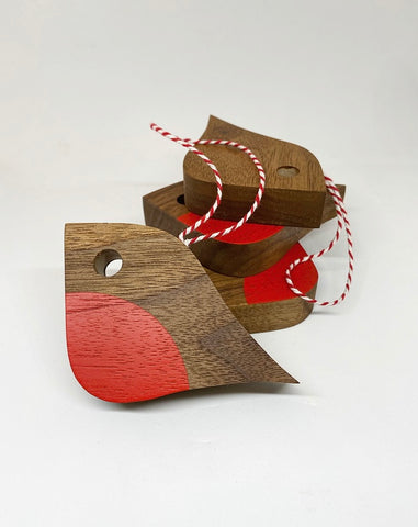 Junior Robin | reclaimed Walnut with baker's twine loop
