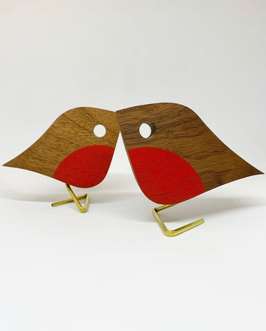 Junior Robin | reclaimed Walnut with brass leg