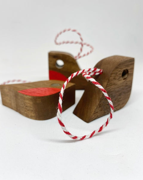Petit Robin | reclaimed walnut with baker's twine loop