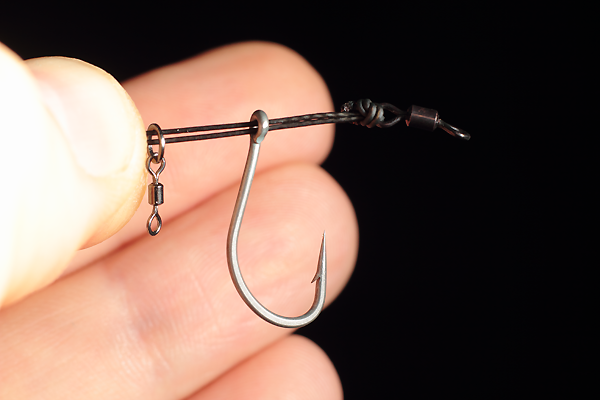 Followed by your bait mounting, in this case one of our micro hook ring swivel.