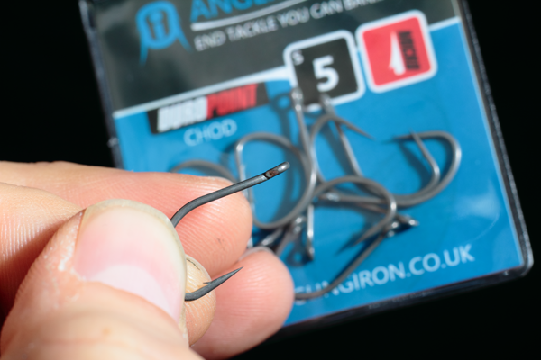 Take one of our Duropoint Chod hooks, We're using a size 5 Here