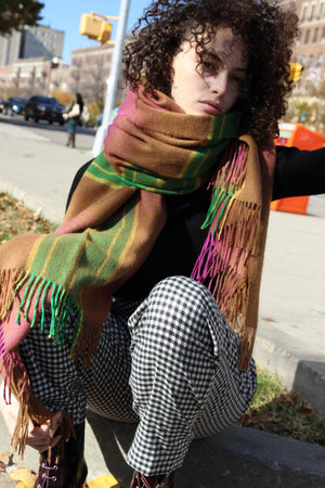 Rwana Blanket Scarf | Green and Pink Dreams