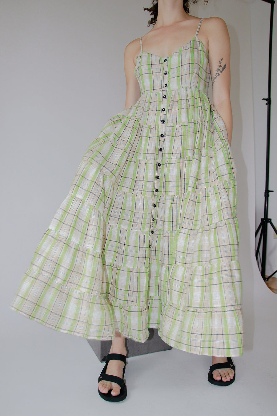 Baila Dress | Wasabi Plaid