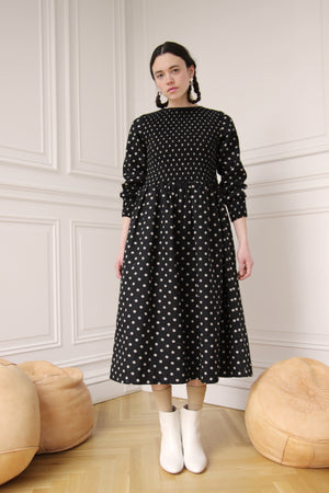 Smocking Lady Dress Dress | Polka dot