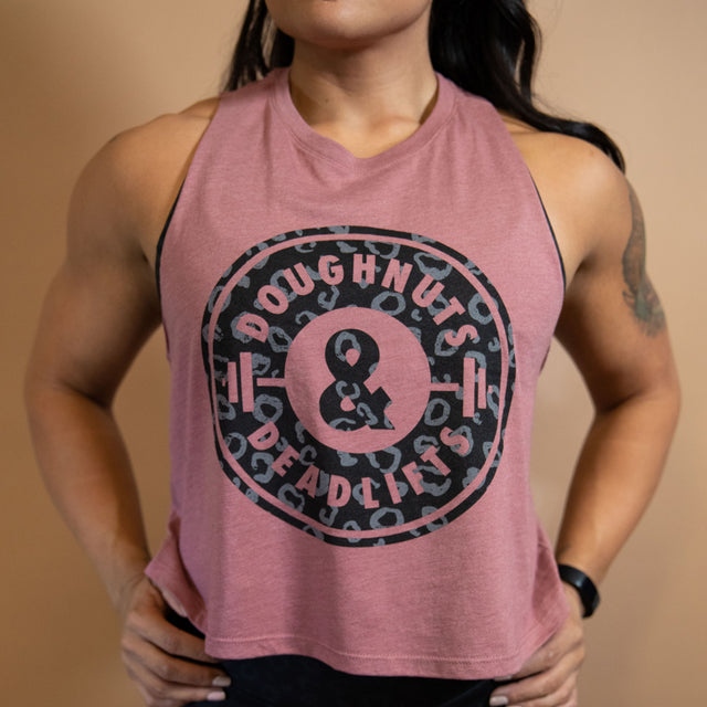 CHEETAH CROP TANK - Desert rose