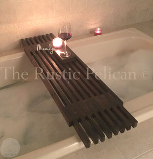 FREE SHIPPING! - Modern Reclaimed Wood Bath Tray, Shower caddy