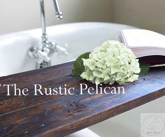 Rustic wood bath caddy, bathtub tray