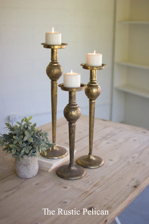 FREE SHIPPING - Brass Candle Holders - Set of Three
