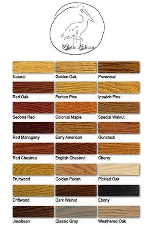 The Rustic Pelican stain color chart for home decor