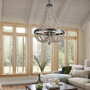 Modern farmhouse wood Beaded Chandelier