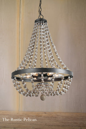 FREE SHIPPING - Modern Bohemian Wood Beaded Chandelier