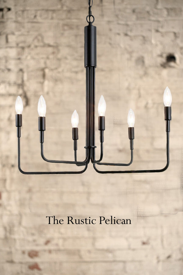 Modern Iron Chandelier with 6 candelabra lights