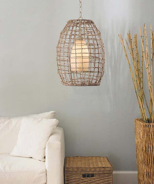 Modern Coastal Boho Chandelier, with a Jute rope