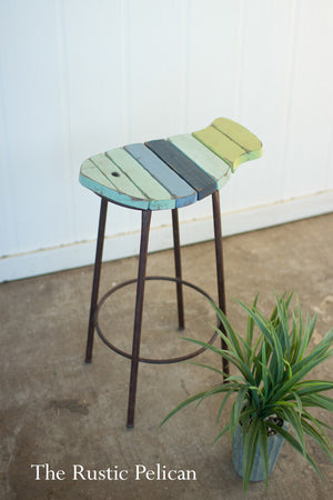 Hand painted wooden fish Bar Stool.