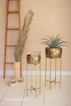 Brass Planters on Metal stands  Set of two (2)