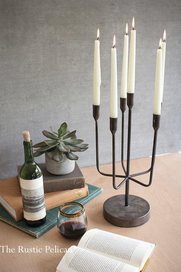 Rustic  Cast Iron Candelabra Candle Holders