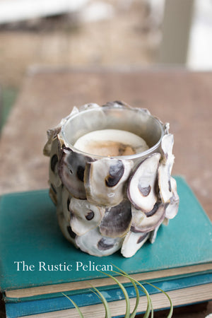 Beach Decor-Oyster Shell round Candle Holder