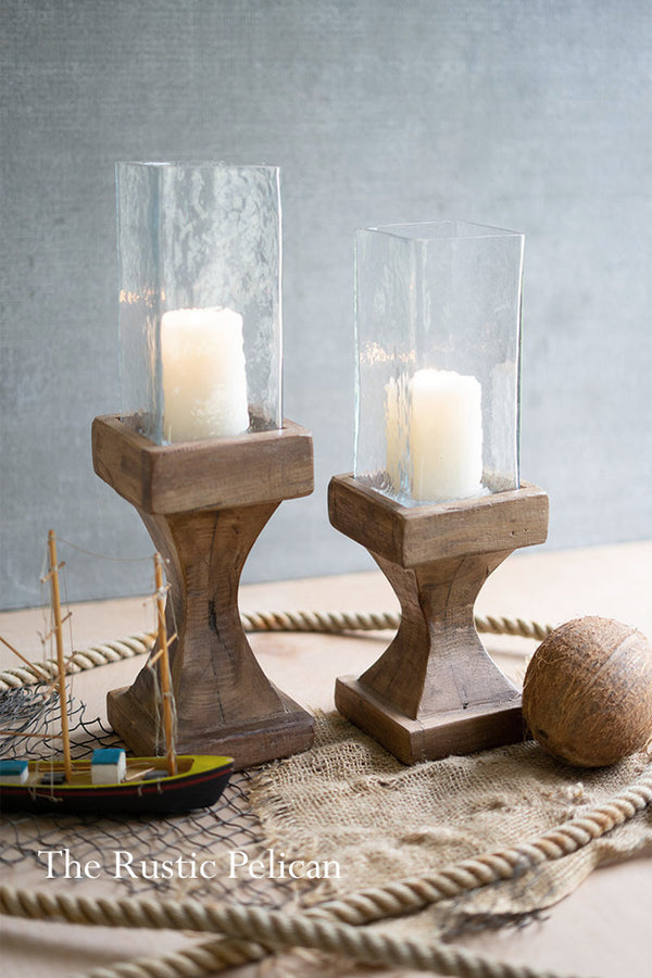 Reclaimed Wood and Glass Candle Holders Set of Two