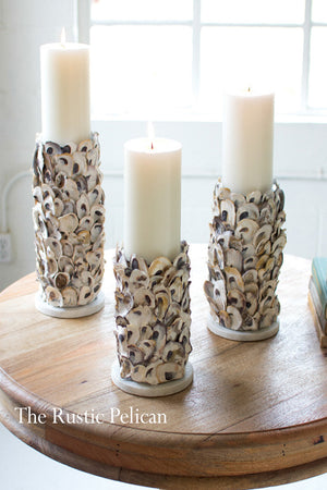 Nautical Shell Candle Holders Set of three