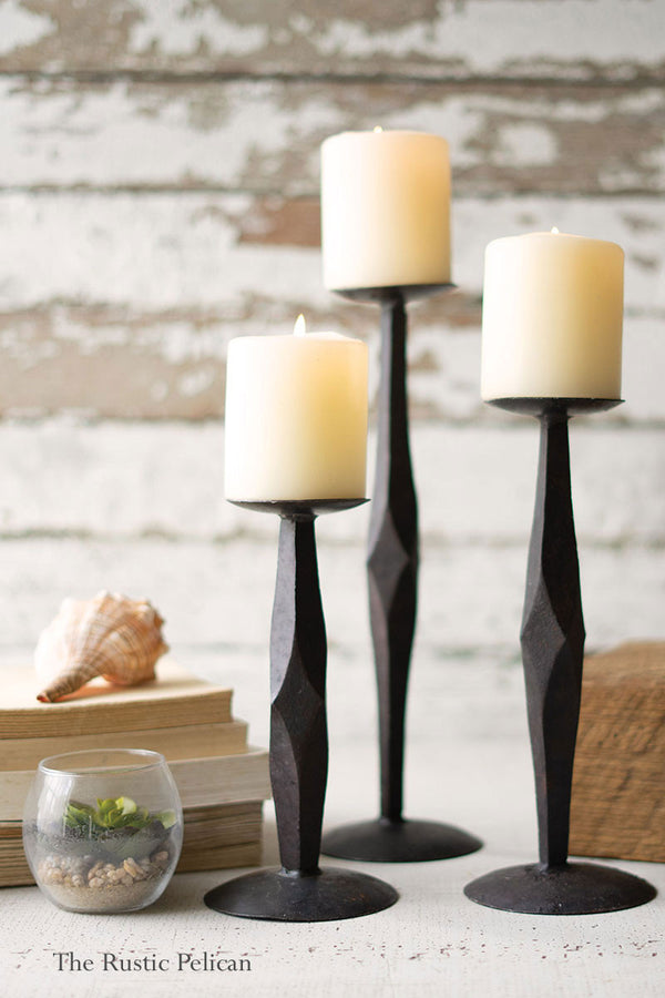 Tall Cast Forged Iron Candle Holders