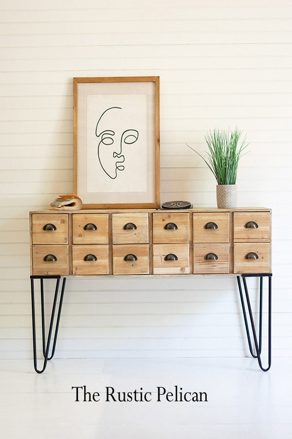FREE SHIPPING ~ Modern Farmhouse Wooden Chest with 12 Drawers
