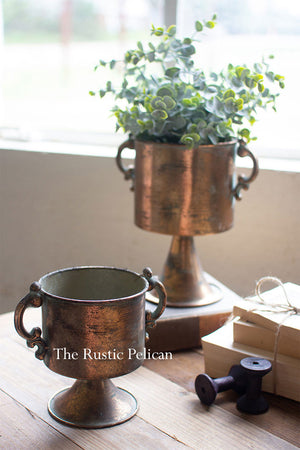Copper finish planters with handles