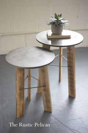 wood and metal nesting end tables.