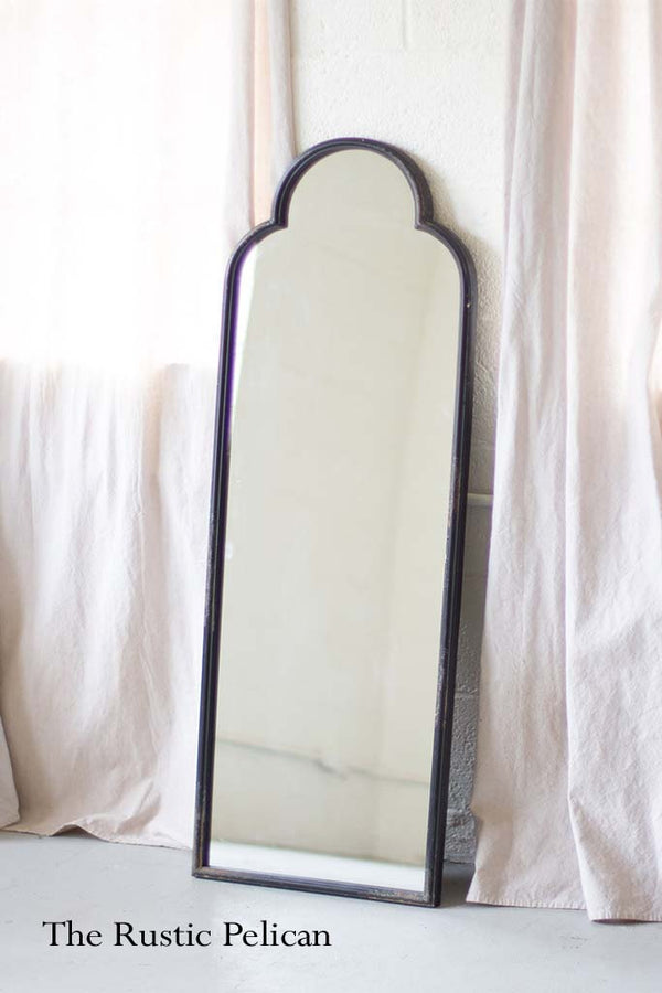 FREE SHIPPING -Antique Black Iron Mirror with arched top