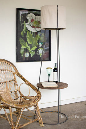FREE SHIPPING ~Side table floor lamp with canvas shade