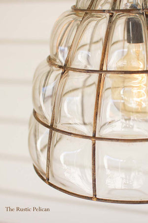 modern rustic faceted Glass pendant light