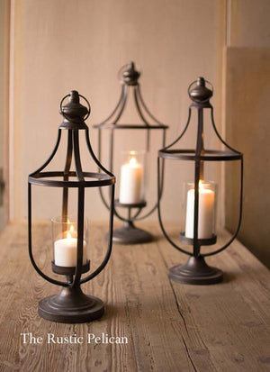 Metal Coastal Farmhouse Lanterns, Set of 3