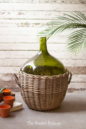 Large Green Glass Bottle with Wicker