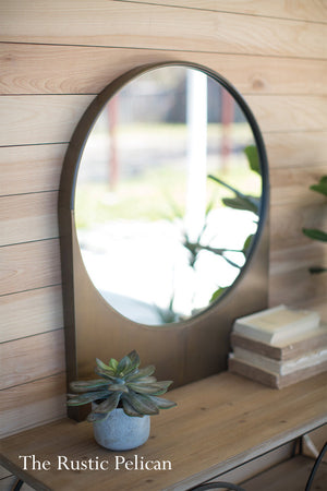 Round Modern Farmhouse Antique Brass Mirror