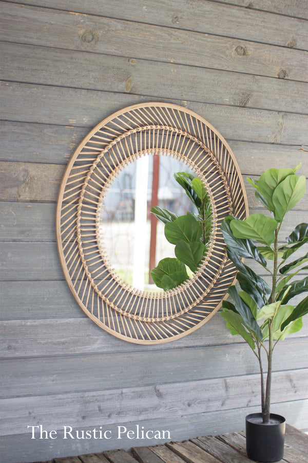 Farmhouse Round Bamboo Rustic wall mirror