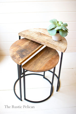 Mango Wood and metal Nesting Tables