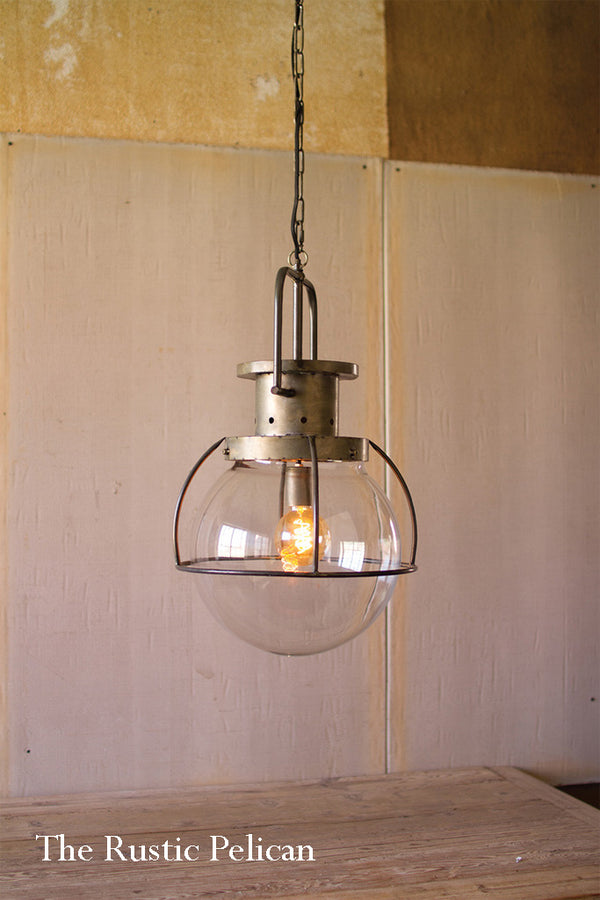 Large Modern Farmhouse-Glass-Pendant Dome Light