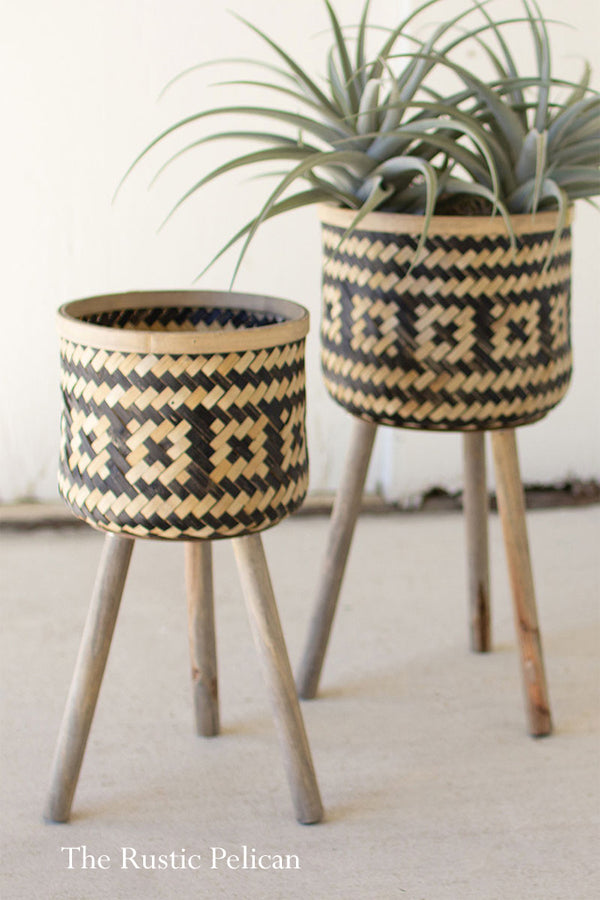 Modern Bohemian Planters on Wooden stand