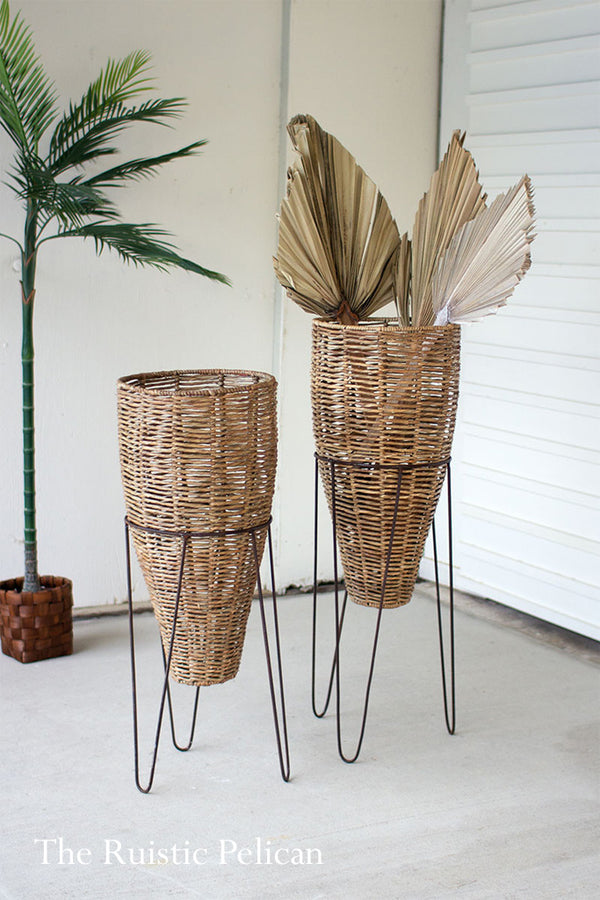 FREE SHIPPING - Modern Wicker Floor Vase with Iron Stands - Set of two (2)