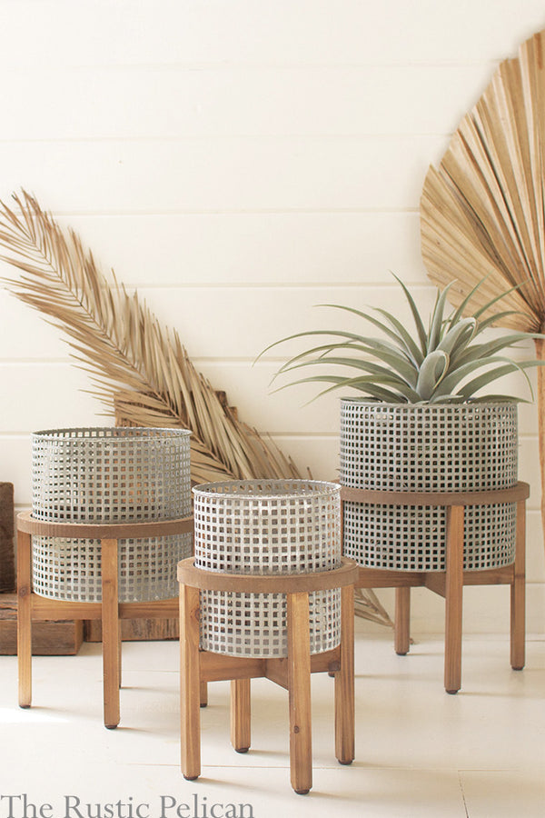 FREE SHIPPING - Modern Metal Planters on wooden stands  Set of three (3)
