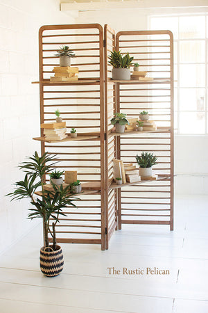 Modern folding screen with display shelves
