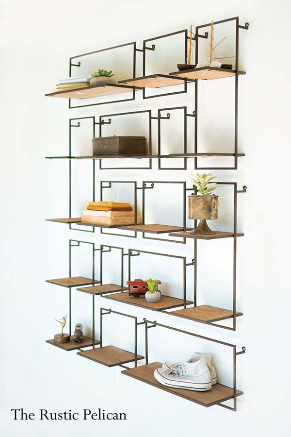 farmhouse storage shelves Set of 14