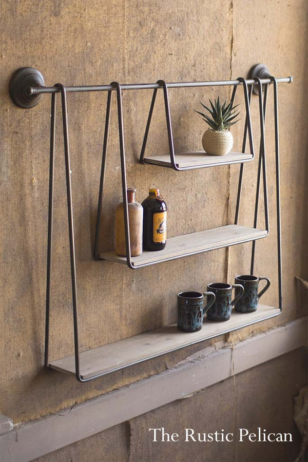 Wood and Metal 3 tier shelf