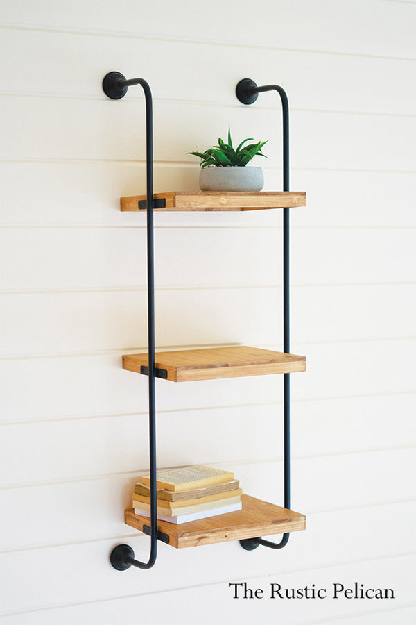 farmhouse wooden storage shelves