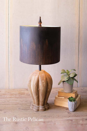Farmhouse Rustic Table Lamp with a metal shade