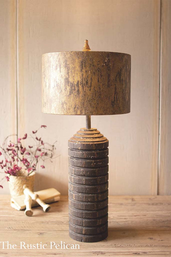 Rustic Wooden Table Lamp with a metal shade
