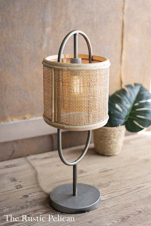 FREE SHIPPING -Rattan and Metal Table Lamp