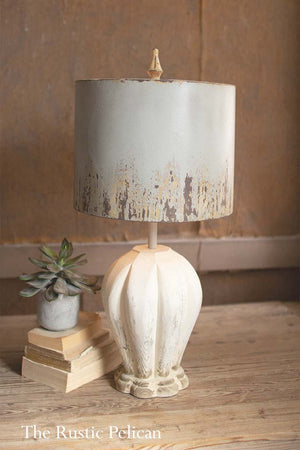 Table Lamp with a gray metal shade