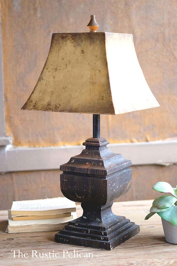 Farmhouse Rustic Wooden Table Lamp