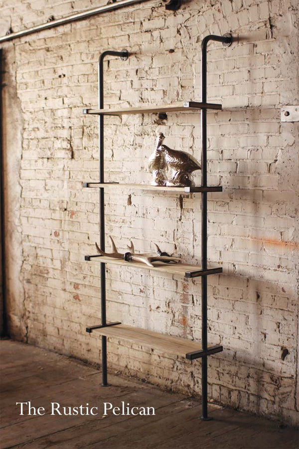 Modern farmhouse wood and metal Shelf