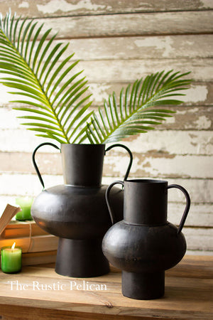 Modern Farmhouse black Urn Vases with Handles